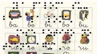 La imagen muestra el fragmento de una página de la cartilla Paláu, sobre el cual aparece, en transparencia, el dibujo de un texto en braille.