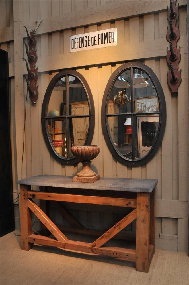 Le grenier brocante industrielle console tabli et for Miroir oeil de boeuf
