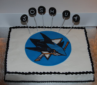 Birthday cake for a San Jose Sharks fan. Rainbowlicious cake with ...