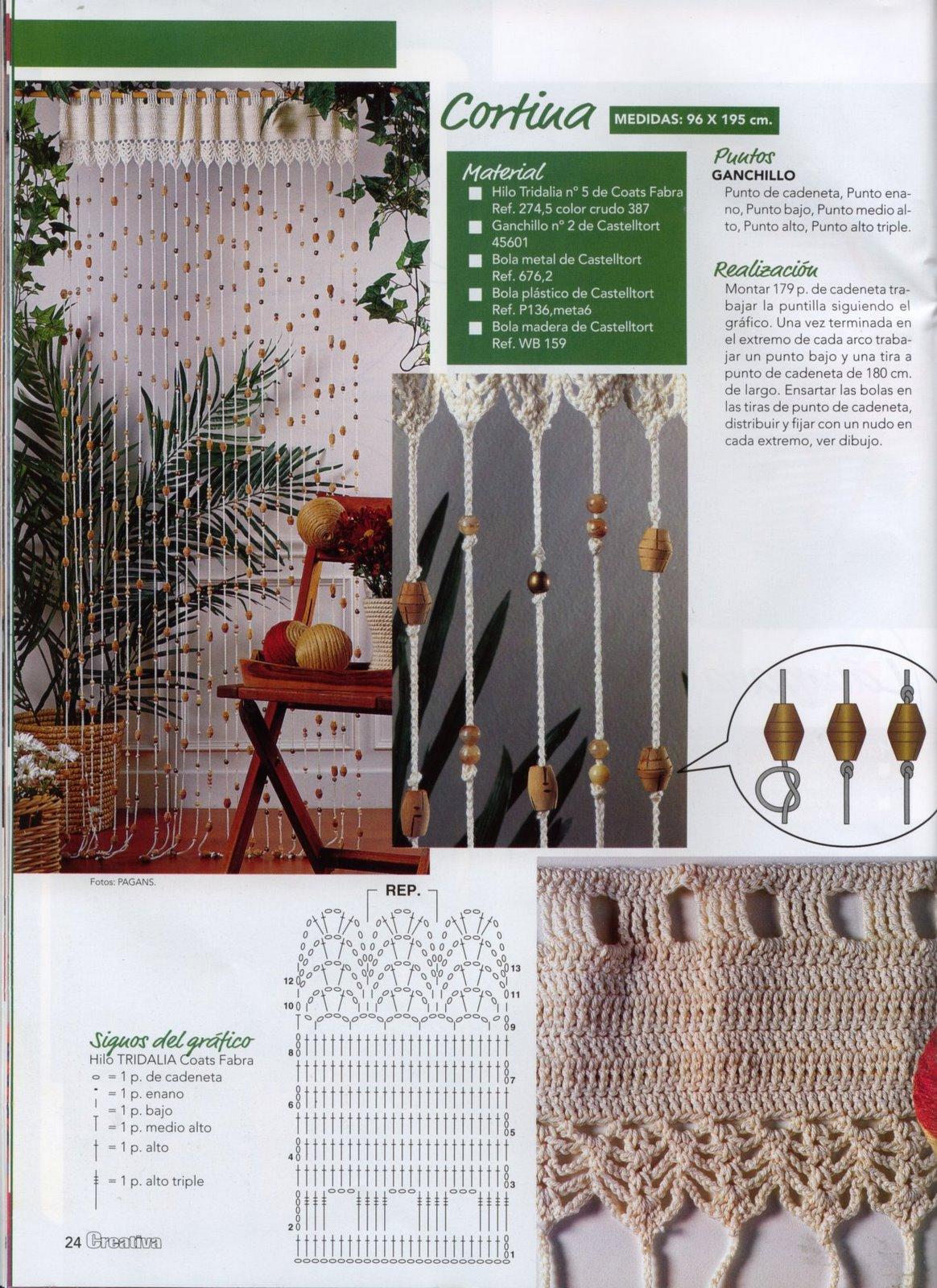 Cortinas tejidas a crochet con patrones gratuitos