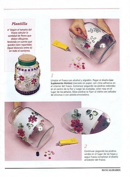 Manualidades :Frascos decorados