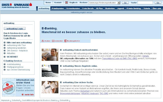 Sparkasse netbanking, online Ebanking service, www.sparkasse.at/netbanking