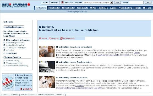 Sparkasse netbanking, online Ebanking service, www.sparkasse.at/netbanking
