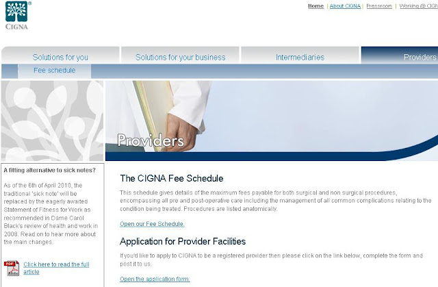 CIGNA Healthcare Fee Schedule Information