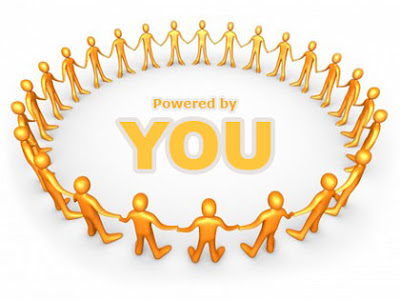 This is an image of people holding hands in a circle and in the middle it says powered by you