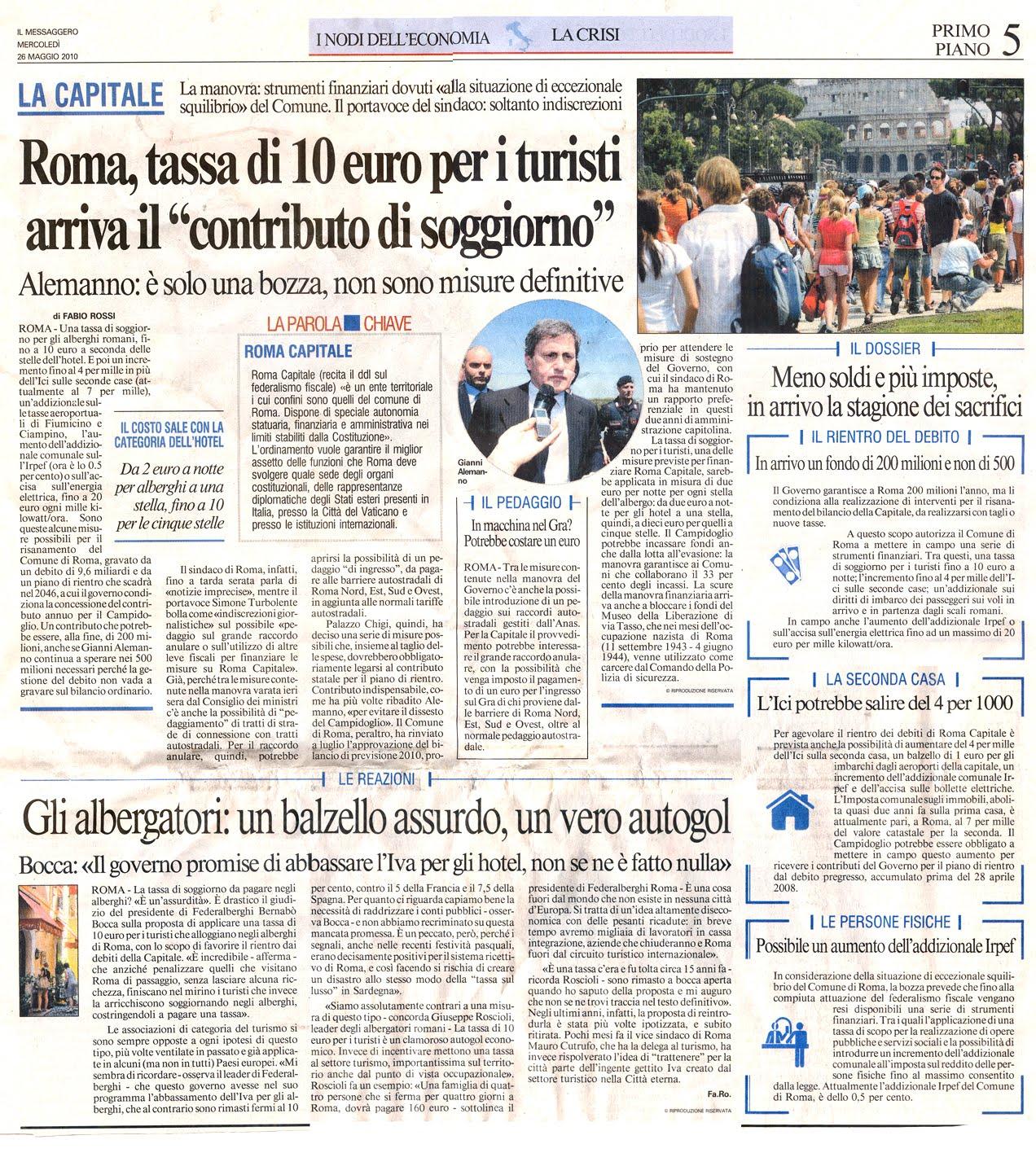 Stunning Comune Di Roma Tassa Di Soggiorno Images - Idee ...