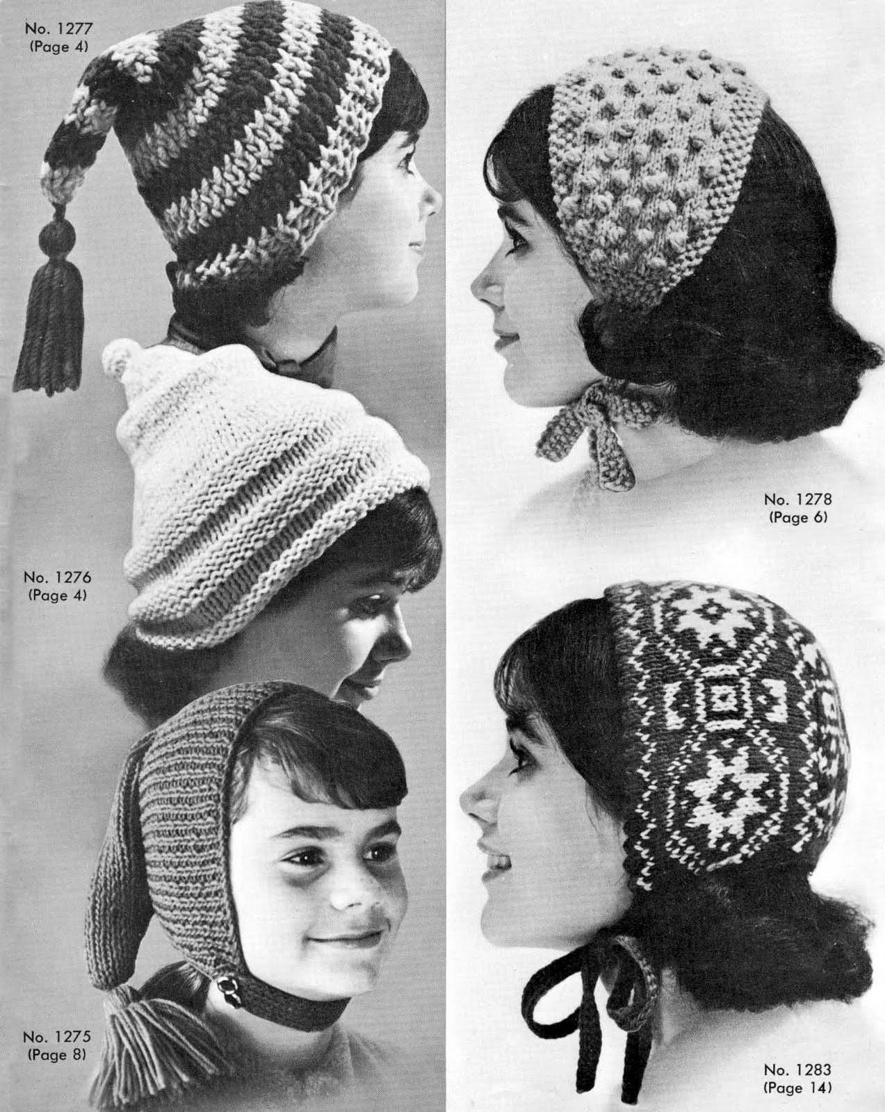High Fashion Knitting : Very vintage knit crochet patterns high fashion hats