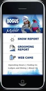 Bogus Basin mobile website on iPhone