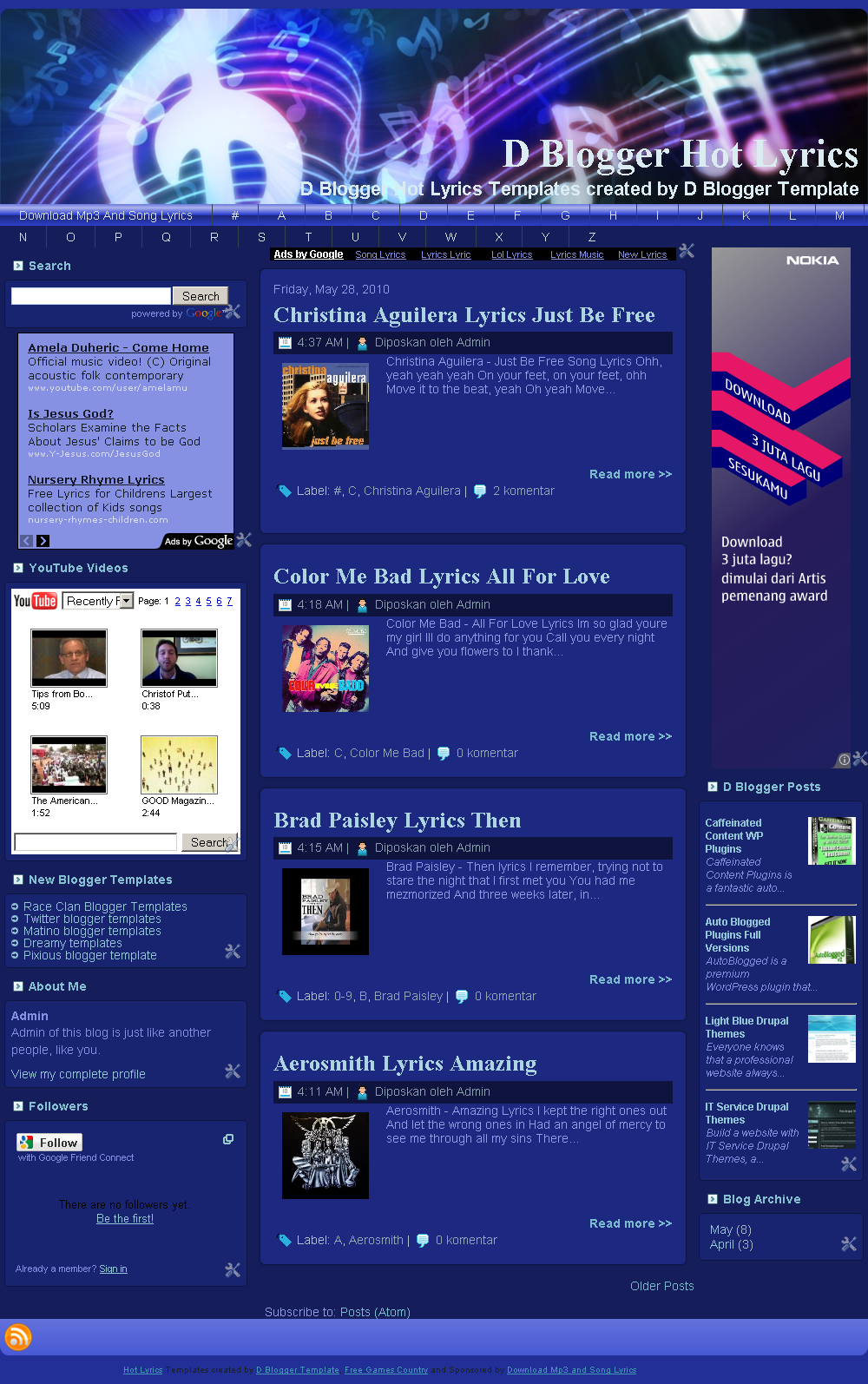 D Blogger Hot Lyrics Templatesfree Blogger Templates Premium