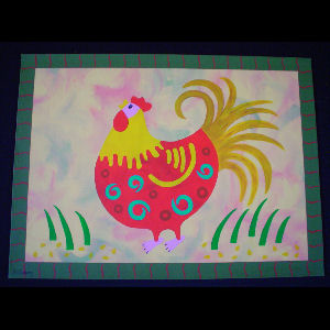Red Rooster on Yellow - Sold