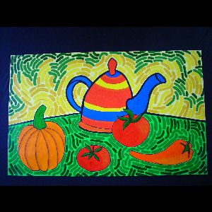 Teapot and Tomatoes - Sold