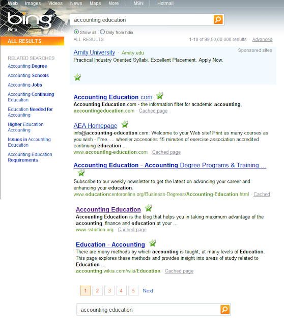 Bing Finance: Accounting Education Got The Position On First Page Of