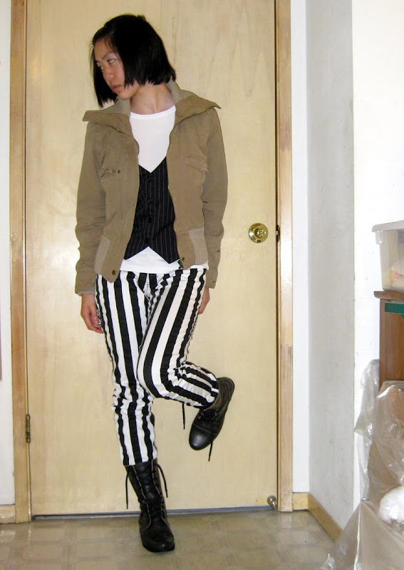 black and white vertical striped pants & steven by steve madden lace-up boots
