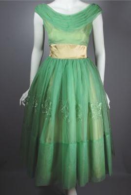 viva vintage clothing green chiffon early 1960s tea length party dress