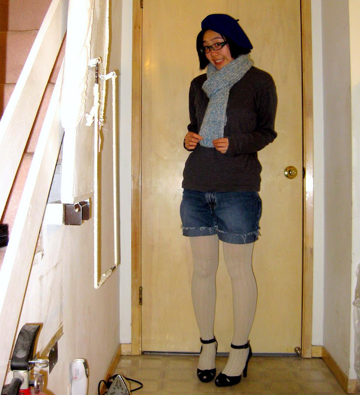 blue beret, ribbed wool tights, payless heels