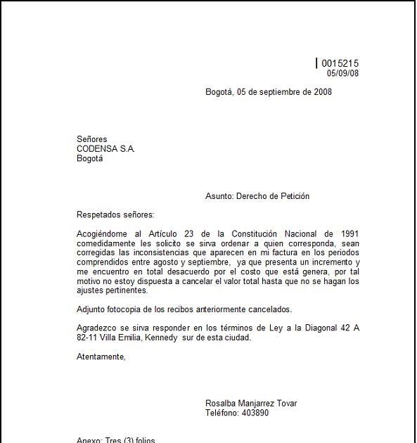 ejemplos de cartas de peticion