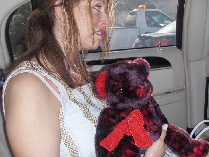 "Riding in the limo with my ""Teddy Bear"" a gift from Elvis"
