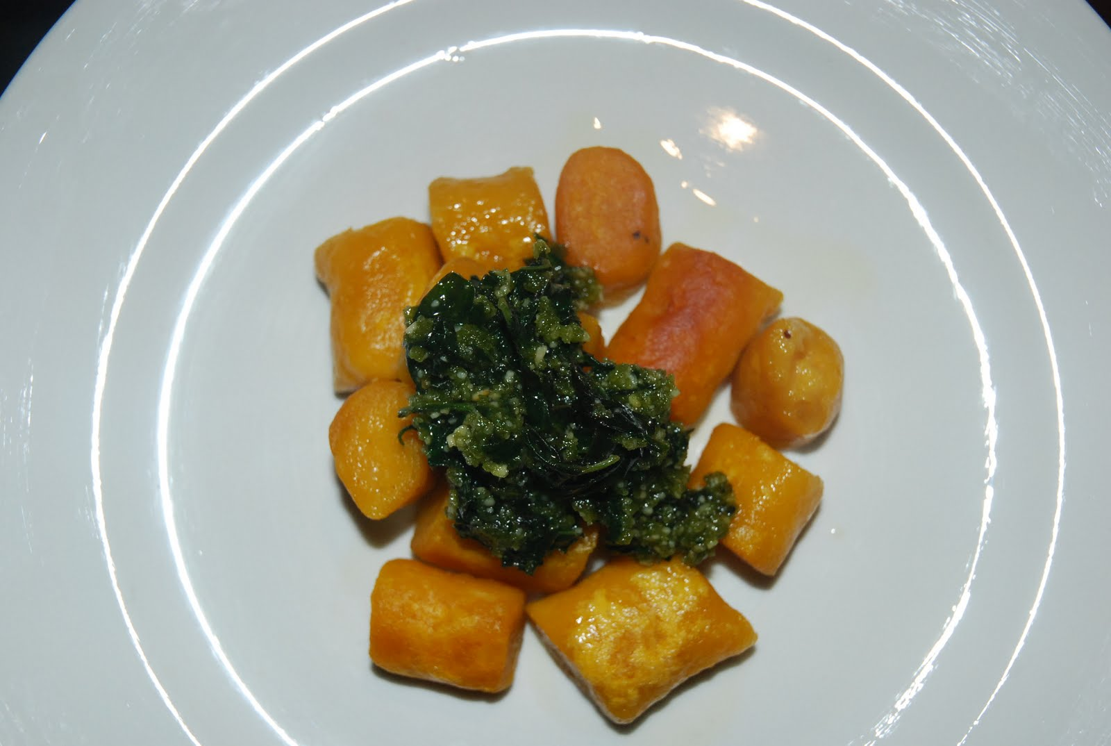 Pan-fried Pumpkin Gnocchi and Basil Pesto