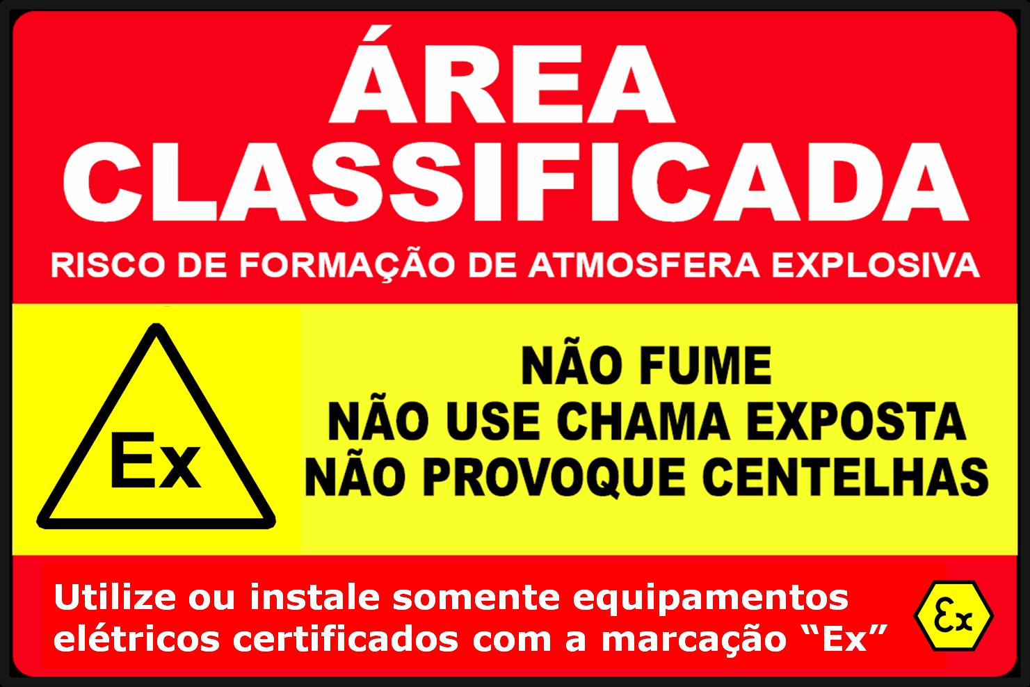 Placa de sinalização de segurança para áreas classificadas contendo atmosferas explosivas