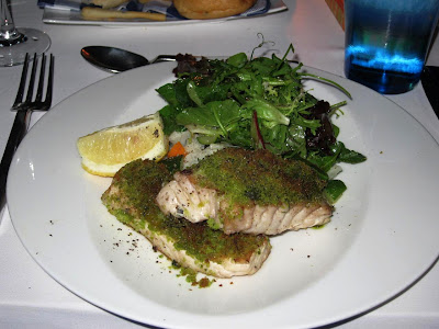 Herb encrusted jackfish at Blu