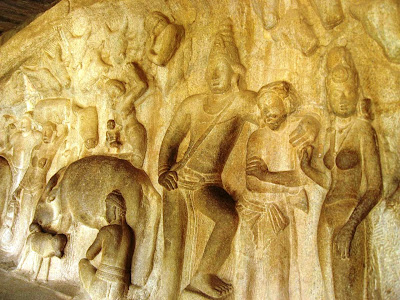 Krishna's brother Balaram comforts a villager, relief in Mahabalipuram