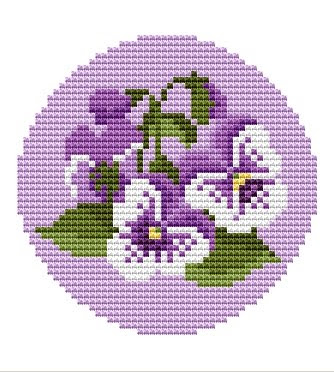 Free Cross Stitch Pattern - Birdhouse and Flower Color Symbol