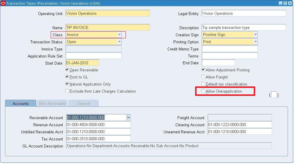 Autoinvoice Error: You cannot over apply this transaction ~ Oracle