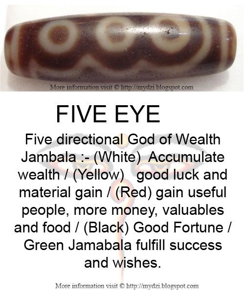 Five eye Dzi Bead