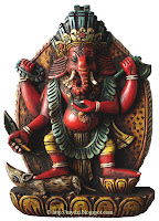 Wood Red Ganesha