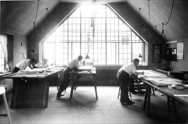 Mellor and Meigs drafting room, designed by Mellor and Meigs