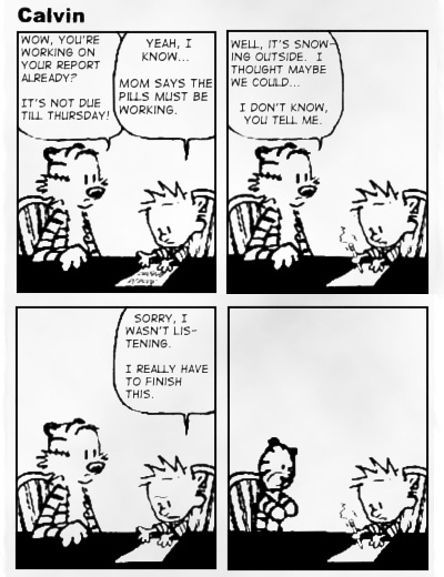 Steen og Stoffer fan stribe med Steen på piller - Calvin and Hobbes on drugs