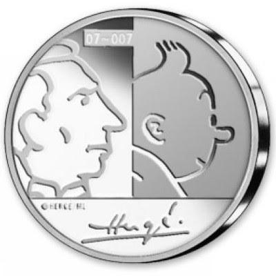 Tintin og Hergé på Euro-mønt