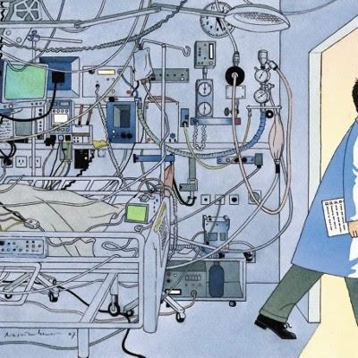 Karikatur af intensiv-afdeling