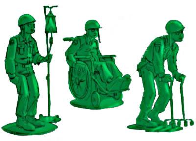 Legetøjs soldater, veteraner, i grøn plastik