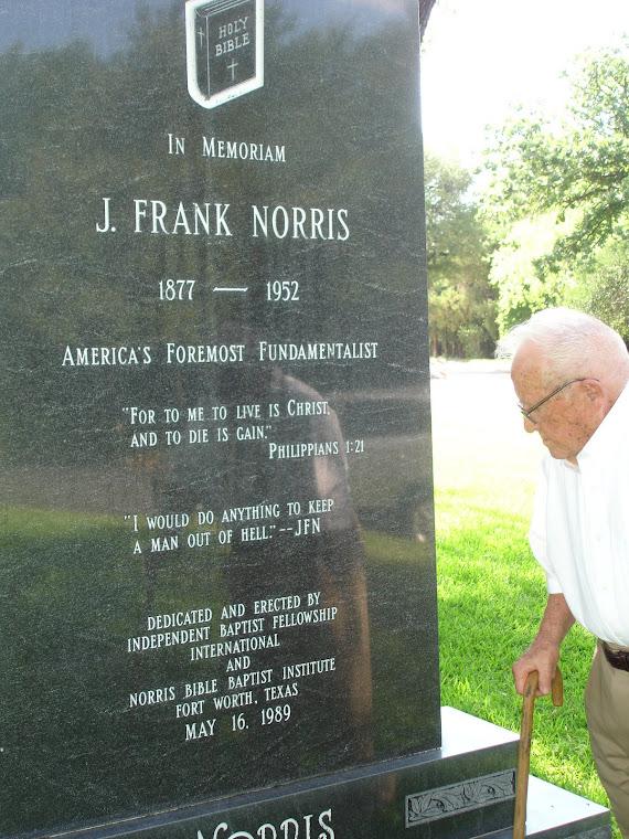 Roy Falls at Norris' gravesite