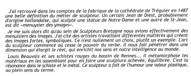 extraits du catalogue du 22èmé Salon de Sculpture de LANDIVISIAU (29)