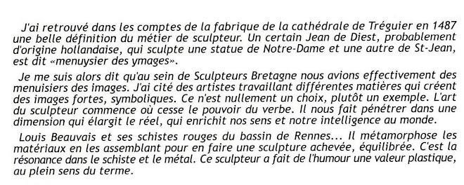 extraits du catalogue du 22èmé Salon de Sculpture de LANDIVISIAU (29)