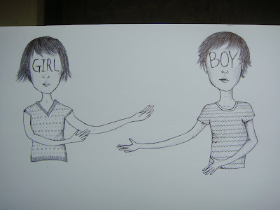 boy and girl with reaching arms drawing