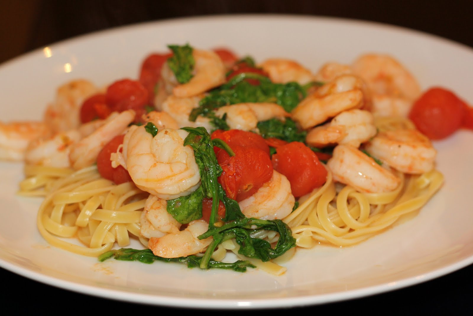 ... for dinner?: sauteed shrimp with arugula and tomatoes... 15 minutes