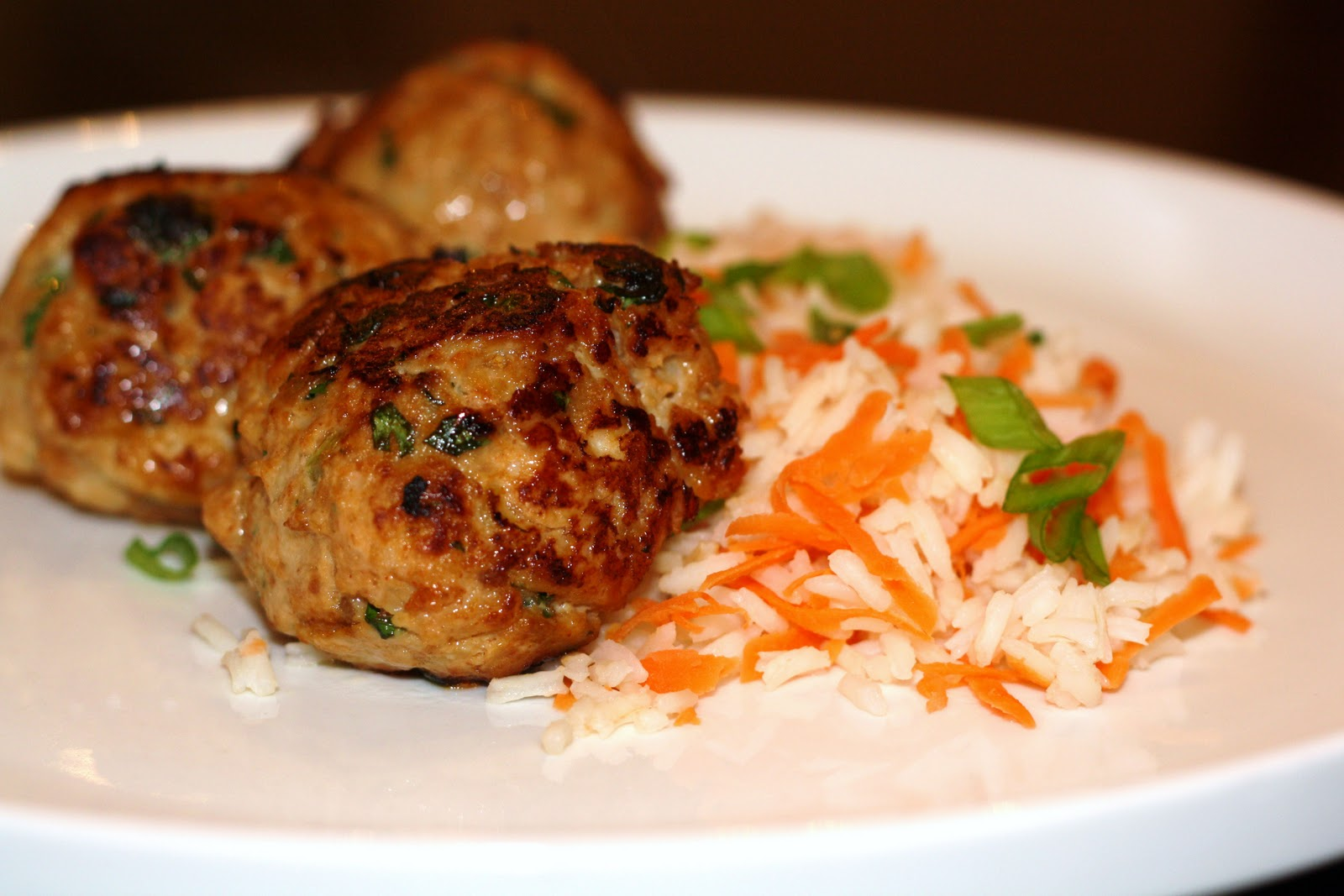 ... for dinner?: asian turkey meatballs with carrot rice... 30 minutes