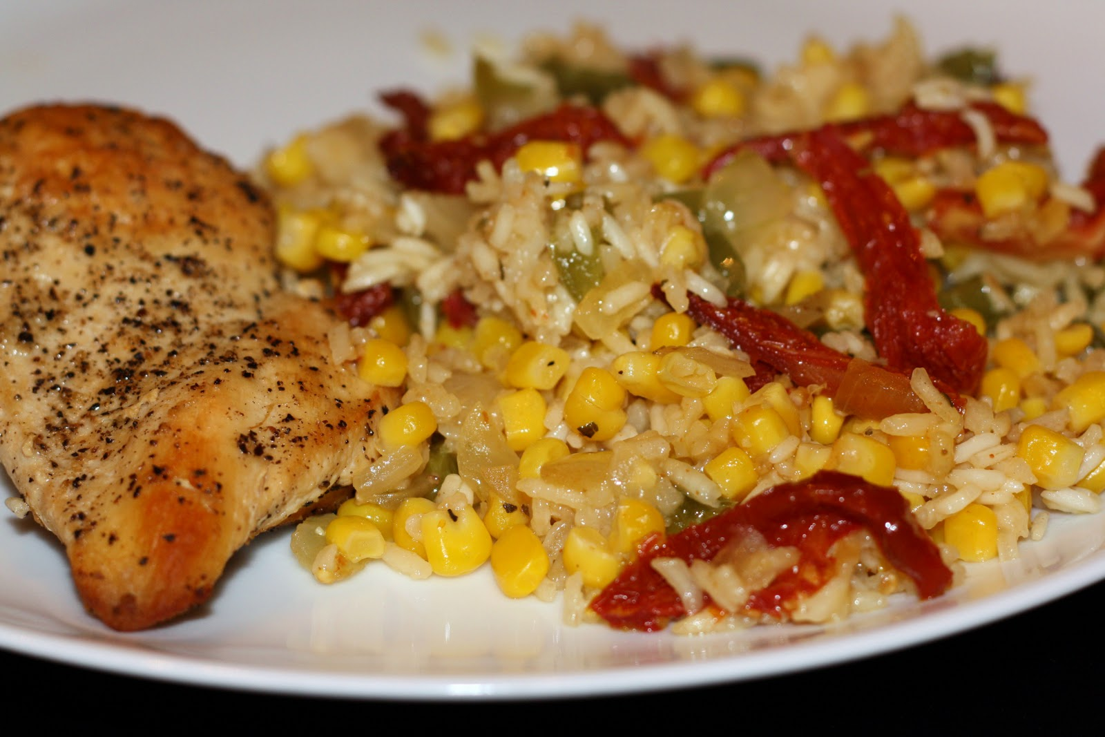 chicken and rice with corn and sun-dried tomatoes... 1 hour and 10 ...