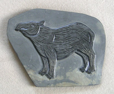 A Baird's Tapir Carved on Slate, Belize