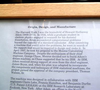 About the Harvard Mark I Calculator, Harvard University, Cambridge, Massachusetts