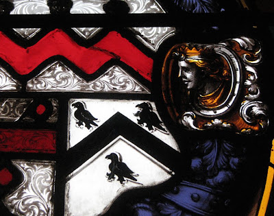 Ravens in a Leaded Glass Crest in Warwick Castle, Warwickshire, England
