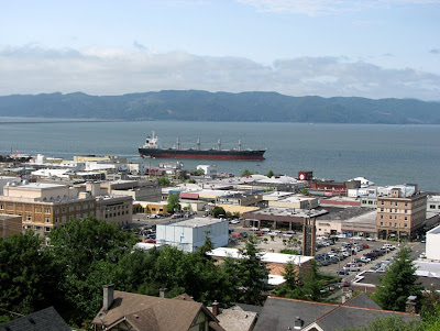 Astoria, Oregon - Downtown with passing ship