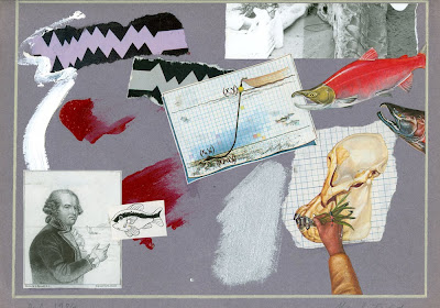Untitled Collage, Gray with Fish