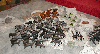 Tapirs and other balata rubber animals from Nappi Balata in Guyana
