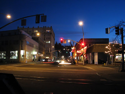 Night Scene at 14th Street and Marine Drive, Astoria, Oregon