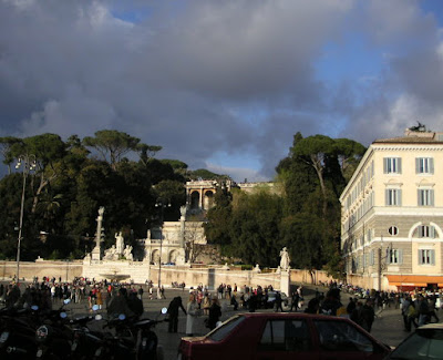 Piazza del Popolo, Rome, under dramatic skies