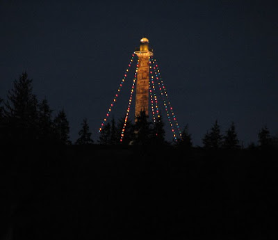 The Astoria Column in Christmas Lights